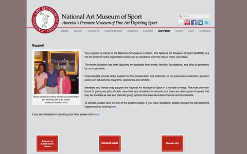 Screenshot of Support Page nationalartmuseumofsport.org - National Art Museum of Sport | SUPPORT - captured Sept. 30, 2014