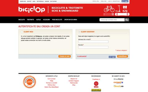 Screenshot of Login Page biciclop.eu - Autentificare client - captured Sept. 24, 2014