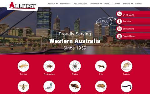 Screenshot of Home Page allpest.com.au - Pest Control Perth | Allpest - captured July 29, 2018