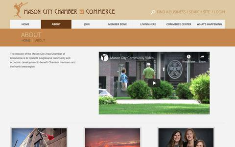 Screenshot of About Page masoncityia.com - About - Mason City Chamber of CommerceMason City Chamber of Commerce - captured Dec. 20, 2018