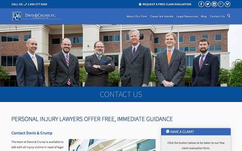 Screenshot of Contact Page daviscrump.com - Contact Us | Davis & Crump Personal Injury Law - captured Feb. 8, 2016