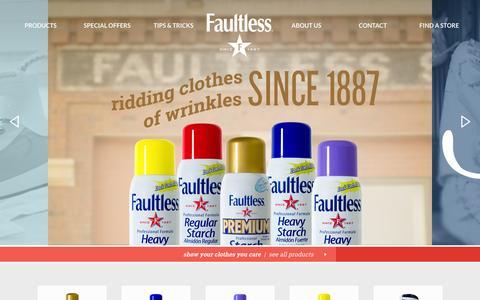 Screenshot of Home Page faultless.com - Faultless - captured Feb. 9, 2016