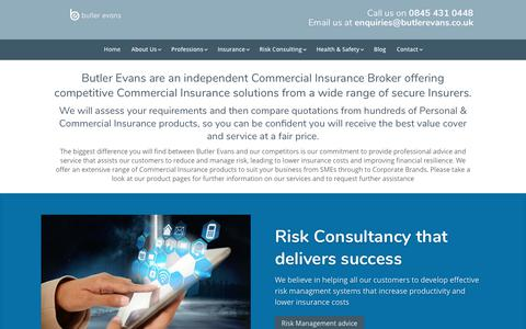 Screenshot of Home Page butlerevans.co.uk - Commercial Insurance Brokers / Professional Indemnity Insurance Brokers - captured July 6, 2017
