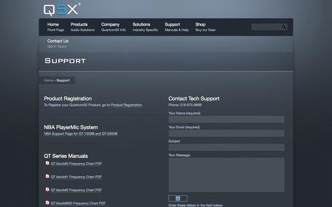 Screenshot of Support Page q5x.com - Tech Support and Downloads - Q5X - captured Oct. 3, 2014
