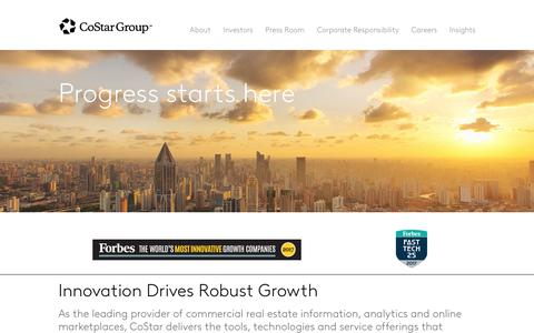 Screenshot of Home Page costargroup.com - CoStar Group | The Leader in Commercial Real Estate Information and Online Marketplaces - captured Aug. 17, 2018
