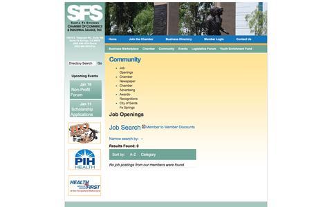 Screenshot of Jobs Page sfschamber.com - Job Search - Santa Fe Springs Chamber of Commerce,CA - captured Jan. 10, 2017