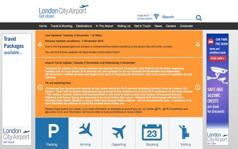 Screenshot of Home Page londoncityairport.com - Parking, Flights & Information - captured Nov. 3, 2015