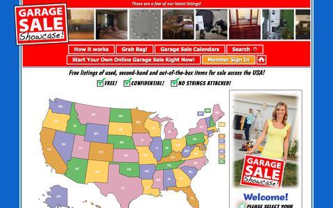 Screenshot of Home Page garagesaleshowcase.com - Garage Sale Showcase • Free Item Listings Across The USA! - captured Sept. 27, 2018