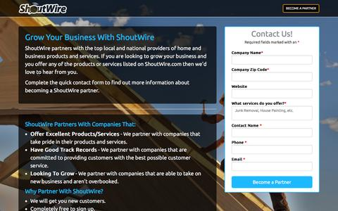 Screenshot of Signup Page shoutwire.com - Become a Partner | ShoutWire - captured Feb. 18, 2016
