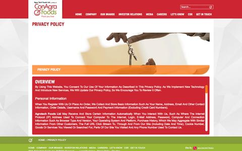 Screenshot of Privacy Page atfoods.com - Privacy Policy - captured Nov. 2, 2014