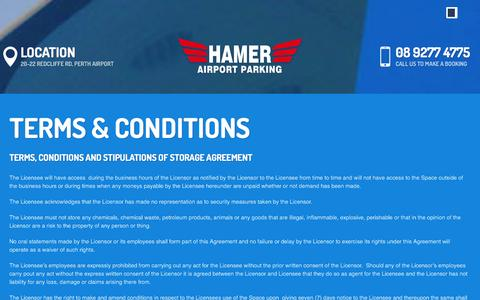 Screenshot of Terms Page airport.com.au - Terms & Conditions | Hamer Airport Parking - captured Jan. 25, 2016