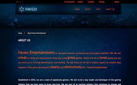Screenshot of About Page faveoe.com - Faveo Entertainment - captured Nov. 1, 2014