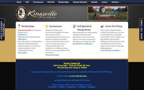 Screenshot of Testimonials Page kingsvillegolf.com - Testimonials - captured Oct. 6, 2014