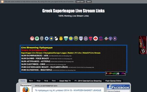 Screenshot of Home Page live-agones.blogspot.gr - Greek Superleague Live Stream Links - captured Sept. 24, 2014
