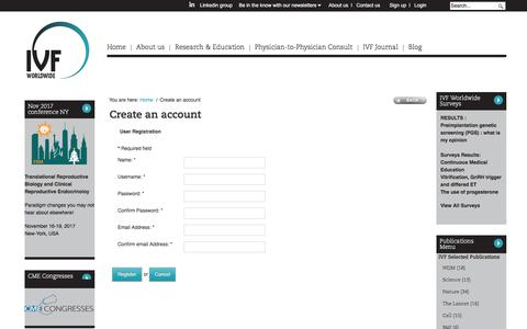 Screenshot of Signup Page ivf-worldwide.com - Create an account - IVF-Worldwide - captured July 18, 2017