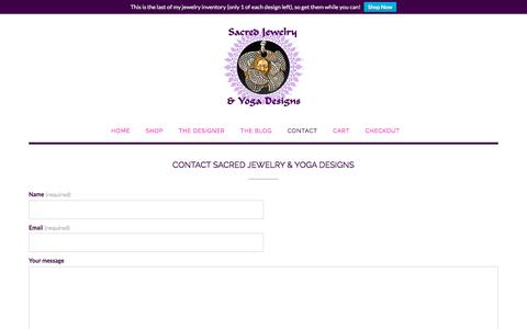 Screenshot of Contact Page sacred-jewelry.com - Contact Sacred Jewelry & Yoga Designs | Sacred Jewelry & Yoga Designs - captured Oct. 2, 2019