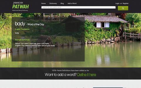 Screenshot of Home Page jamaicanpatwah.com - Jamaican Patwah - Patois/Creole and Slang Dictionary - captured Sept. 19, 2014