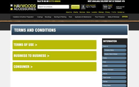 Screenshot of Terms Page havwoodsaccessories.com - Havwoods Accessories  - Havwoods Accessories   Timber Flooring Accessories - captured Nov. 1, 2014