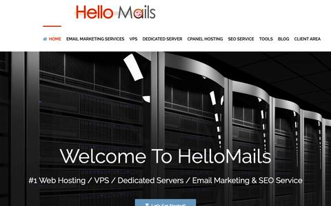 Screenshot of Home Page hellomails.com - Email Servers - Secure Mass Mail Servers For Business – HelloMails - captured Nov. 4, 2018
