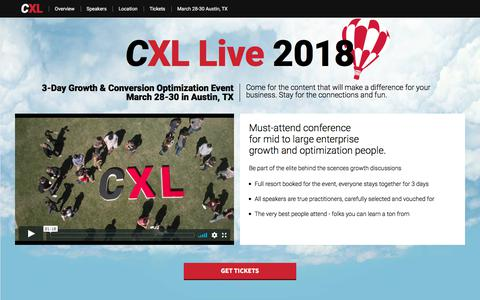 Screenshot of conversionxl.com - CXL Live 2018. 3-Day Growth & Optimization Event. March 28-30 in Austin, TX - captured Sept. 15, 2017