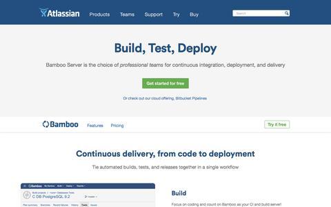 Screenshot of atlassian.com - Bamboo - Continuous integration, deployment & release management | Atlassian - captured March 7, 2017