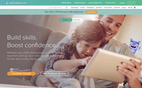 Screenshot of Home Page education.com - Education.com | #1 Educational Site for Pre-K through 5 - captured Sept. 14, 2017