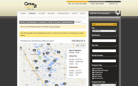 Screenshot of Maps & Directions Page century21vista.com - All Property Types in All Cities - captured Sept. 29, 2014