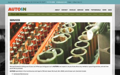 Screenshot of Services Page auto4n.com - Foreign Auto Repair Services | Auto4n Cincinnati - captured Dec. 27, 2015