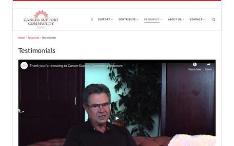 Screenshot of Testimonials Page cancersupportdelaware.org - Testimonials – Cancer Support Community Delaware - captured Nov. 9, 2018