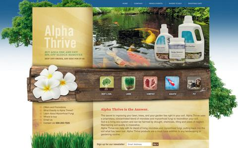 Screenshot of Home Page usethrive.com - Alpha THRIVE- Organic products for a healthy life, lawn and planet. - captured Feb. 5, 2016
