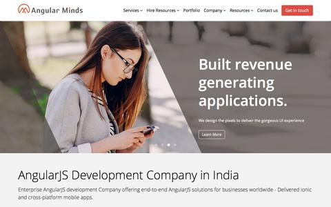 Screenshot of Home Page angularminds.com - AngularJS Development Company in India, Hire Ionic/AngularJS Developers India - captured July 11, 2018