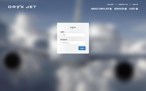 Screenshot of Login Page oryxjet.com - Sales Login | Oryx Jet - captured Oct. 20, 2018