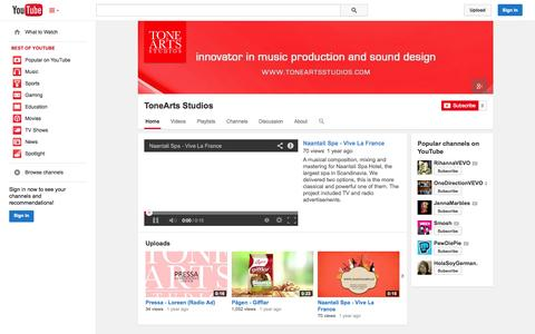 Screenshot of YouTube Page youtube.com - ToneArts Studios  - YouTube - captured Oct. 29, 2014