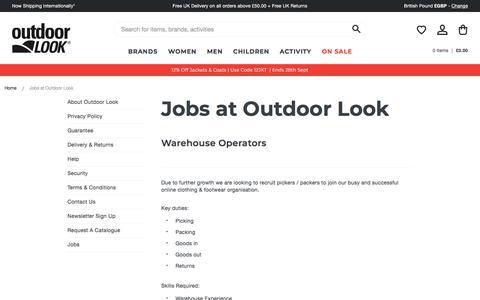Screenshot of Jobs Page outdoorlook.co.uk - Jobs at Outdoor Look | Outdoor Look - captured Sept. 23, 2018