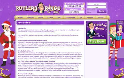 Screenshot of Privacy Page butlersbingo.com - Privacy Policy - captured Dec. 2, 2015