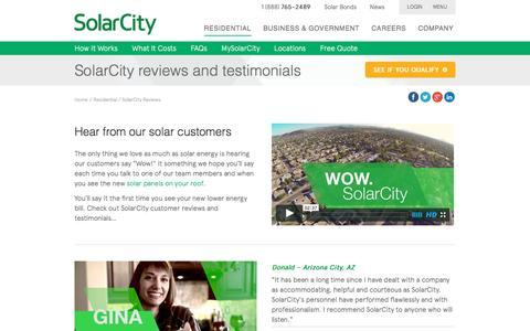 Screenshot of Testimonials Page solarcity.com - SolarCity Reviews - Residential Customer Testimonials | SolarCity - captured Oct. 28, 2015