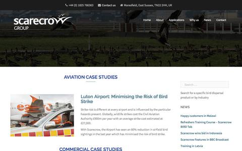 Screenshot of Case Studies Page scarecrow.eu - Bird Control - Case Studies | Scarecrow - captured Sept. 29, 2017