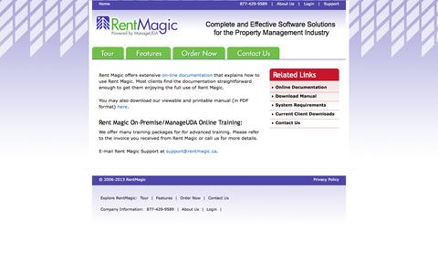 Screenshot of Support Page rentmagic.ca - Rent Magic Software: Commercial and Residential Property  Management Software - captured Oct. 26, 2014
