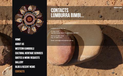 Screenshot of Contact Page lumburrabimbi.com.au - Contacts   Lumburra Bimbi - captured Sept. 30, 2014