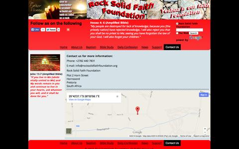 Screenshot of Contact Page rocksolidfaithfoundation.org - Contact Us - Rock Solid Faith Foundation - captured Oct. 29, 2014
