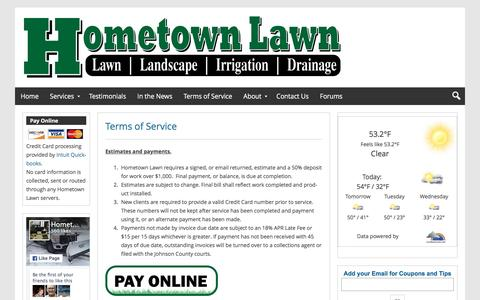 Screenshot of Terms Page hometownlawn.com - Hometown Lawn Terms of Service | Hometown Lawn, LLC - captured Jan. 31, 2016