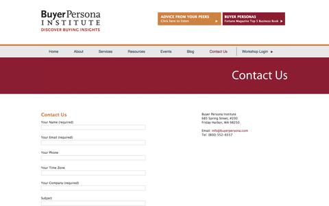 Screenshot of Contact Page buyerpersona.com - Contact Us - captured Oct. 11, 2017