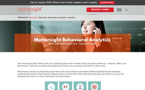 Screenshot of Products Page mattersight.com - Behavioral Analytics Improves ROI on Every Call | Mattersight - captured Oct. 2, 2015