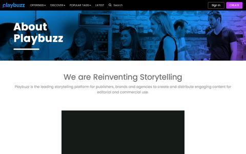 Screenshot of About Page playbuzz.com - Playbuzz: About Us - captured May 28, 2017