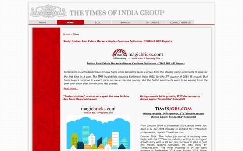 Screenshot of Press Page timesgroup.com - News - captured Nov. 1, 2014