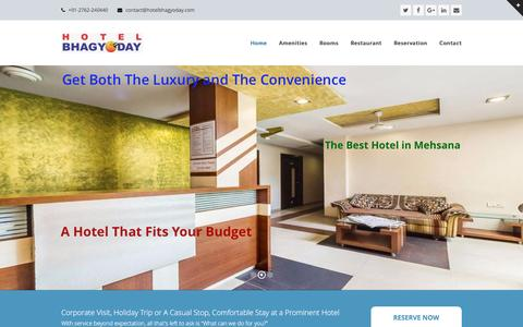 Screenshot of Home Page hotelbhagyoday.com - Hotel Bhagyoday | Modern Hotel in Mehsana Gujarat - captured May 21, 2017