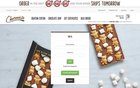 Screenshot of Login Page chocomize.com - Customer Login - captured Sept. 22, 2014