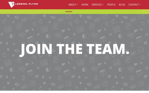 Screenshot of Jobs Page lessingflynn.com - Work at Lessing-Flynn | Advertising and Marketing Agency Based in Des Moines, Iowa - captured July 18, 2018