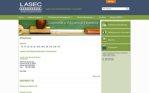 Screenshot of Maps & Directions Page lasecfp.org - LASEC - Leyden Area Special Education Cooperative - captured Oct. 1, 2014