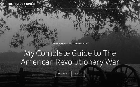 Screenshot of Home Page thehistoryjunkie.com - The History Junkie - All About The Revolutionary War - captured Sept. 25, 2015